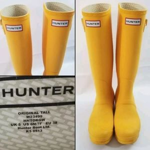 Hunter Womens Original Tall Rain Boots Yellow 7